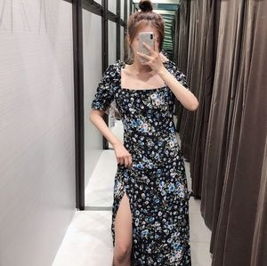 Zara Floral MIDI Dress Slit Sqaure Neck 7603/289